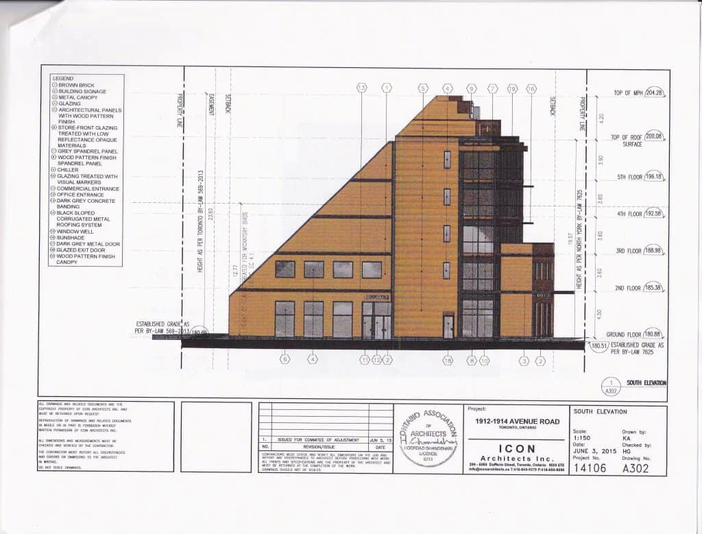 1912-1914 Avenue Road South Elevation Drawing