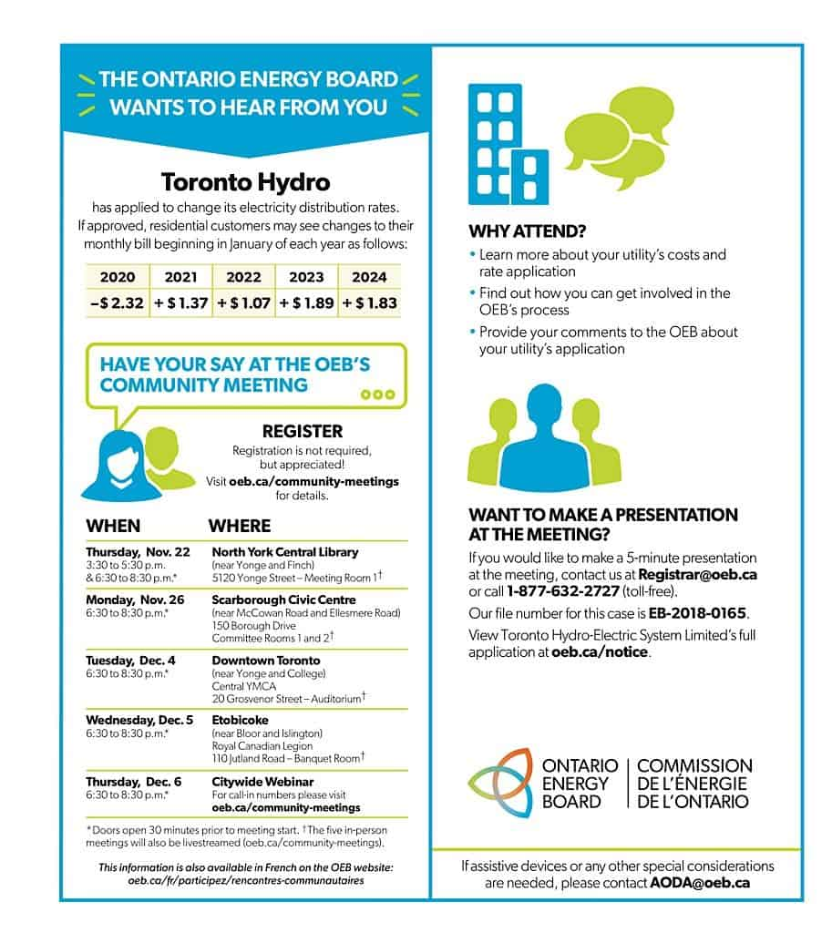 Toronto Hydro – Ontario Energy Board Community Meeting @ North York Central Library | Toronto | Ontario | Canada