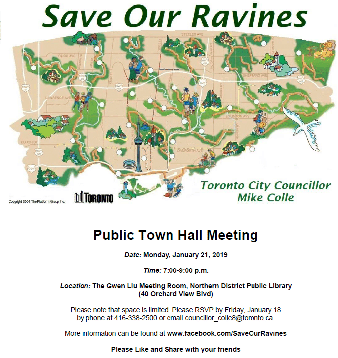 Save Our Ravines - Public Town Hall Meeting @ The Gwen Liu Meeting Room, Northern District Library